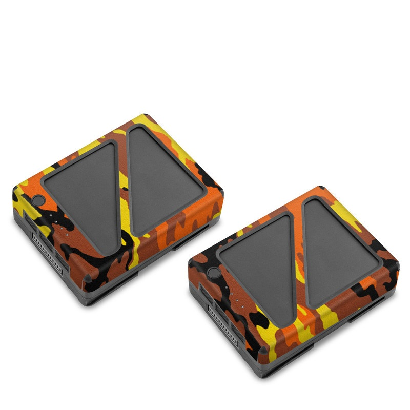 DJI Inspire 2 Battery Skin design of Military camouflage, Orange, Pattern, Camouflage, Yellow, Brown, Uniform, Design, Tree, Wildlife with red, green, black colors