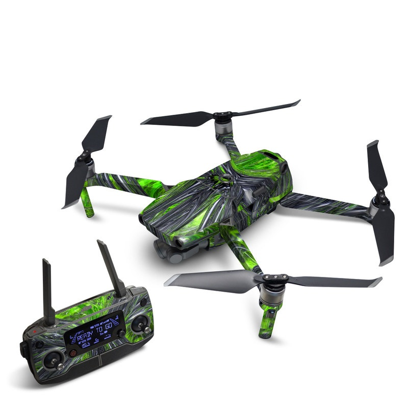DJI Mavic 2 Skin design of Green, Tree, Leaf, Plant, Grass, Terrestrial plant, Botany, Woody plant, Arecales, Vascular plant with green, gray, black colors