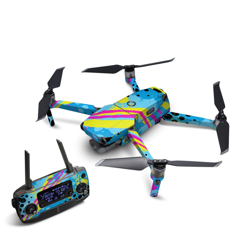 DJI Mavic 2 Skin design of Blue, Colorfulness, Graphic design, Pattern, Water, Line, Design, Graphics, Illustration, Visual arts with blue, black, yellow, pink colors
