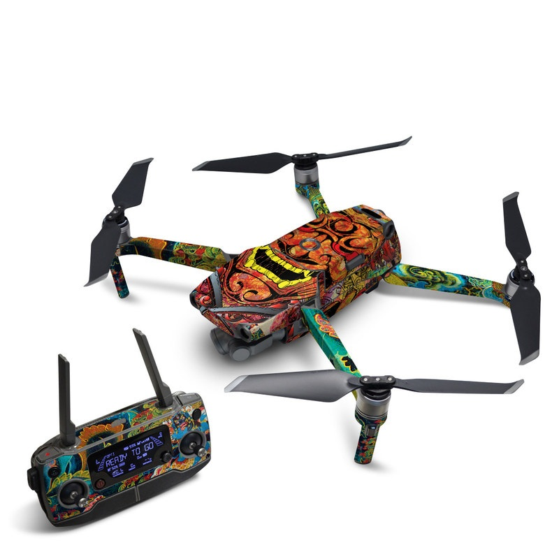 DJI Mavic 2 Skin design of Art, Psychedelic art, Visual arts, Illustration, Fictional character, Demon with red, orange, yellow colors