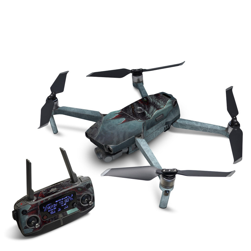 DJI Mavic 2 Skin design of Dragon, Fictional character, Mythical creature, Demon, Cg artwork, Illustration, Green dragon, Supernatural creature, Cryptid with red, gray, blue colors