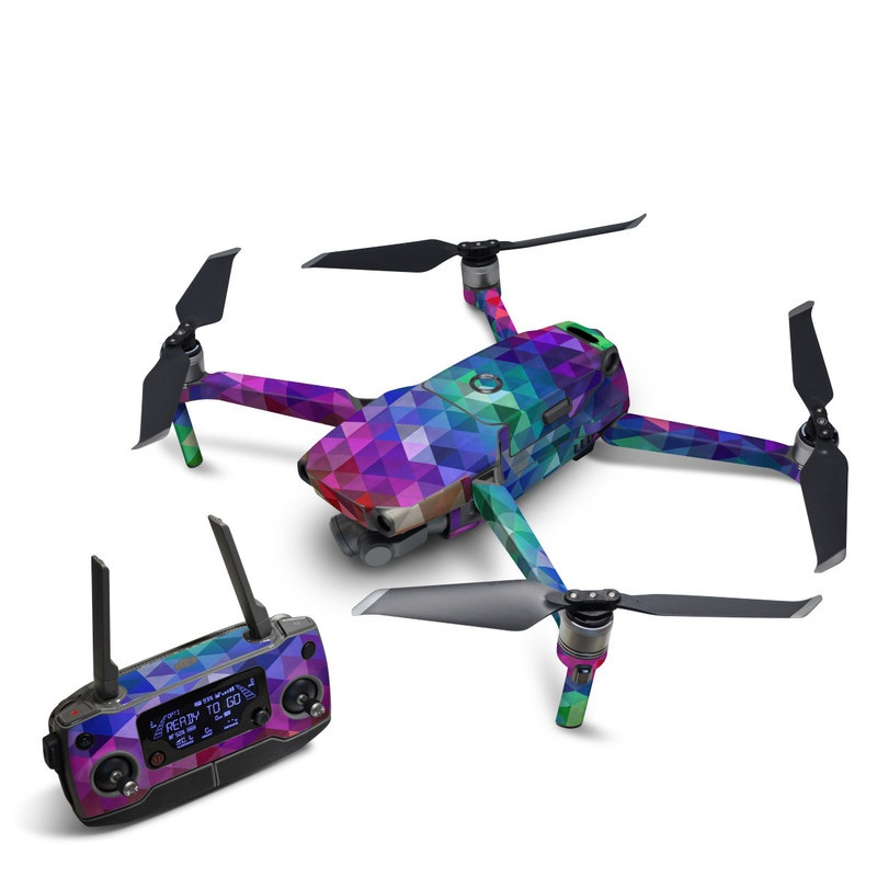 DJI Mavic 2 Skin design of Purple, Violet, Pattern, Blue, Magenta, Triangle, Line, Design, Graphic design, Symmetry with blue, purple, green, red, pink colors