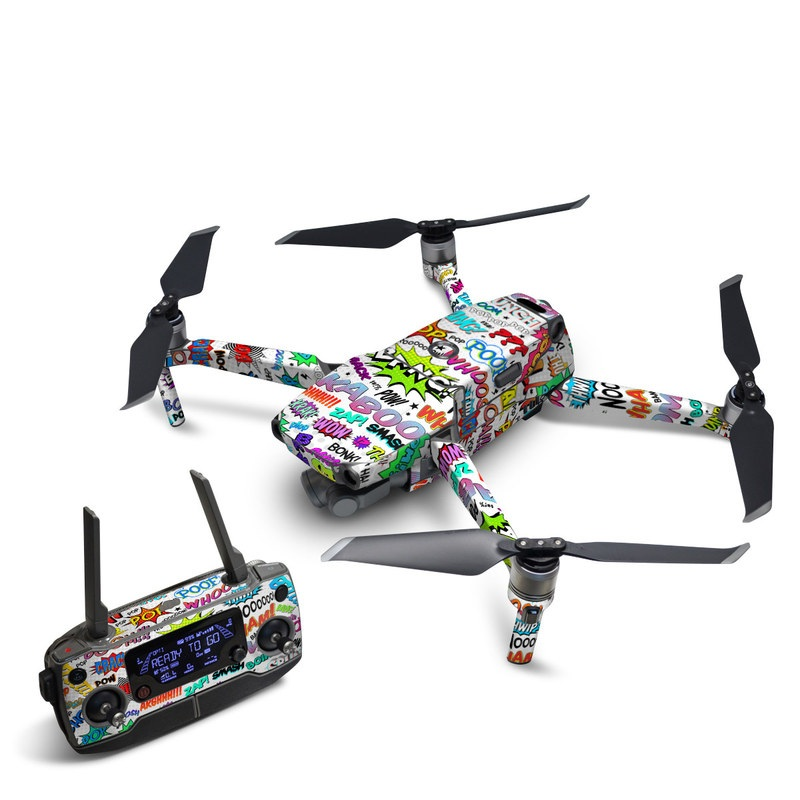 DJI Mavic 2 Skin design of Text, Font, Line, Graphics, Art, Graphic design with gray, white, red, blue, black colors