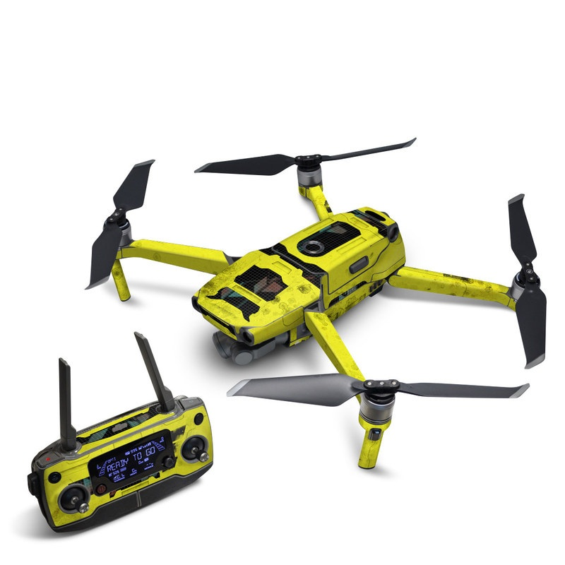 DJI Mavic 2 Skin design of Yellow, Green, Font, Pattern, Graphic design with black, yellow, gray, blue, green colors