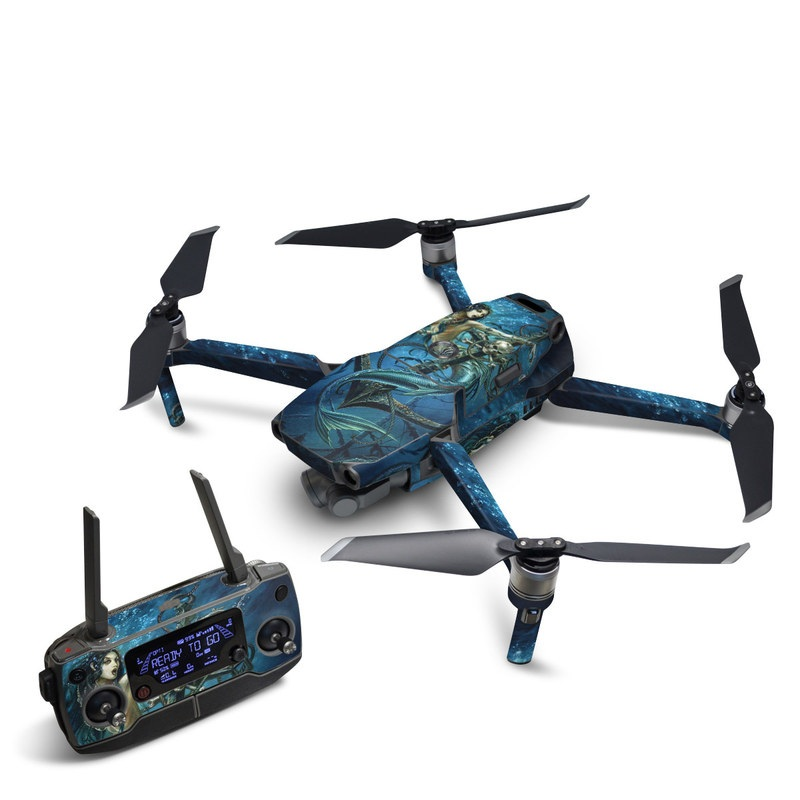 DJI Mavic 2 Skin design of Mermaid, Cg artwork, Illustration, Fictional character, Art, Mythology, Mythical creature, Graphic design with blue, green, white, black colors