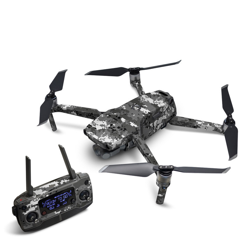 DJI Mavic 2 Skin design of Military camouflage, Pattern, Camouflage, Design, Uniform, Metal, Black-and-white with black, gray colors