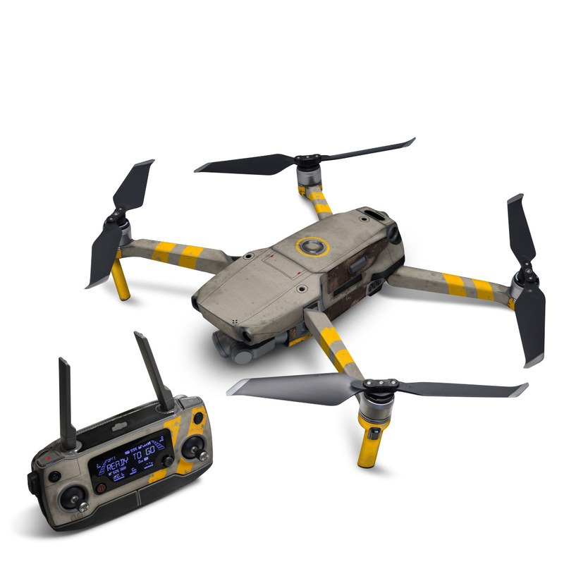 DJI Mavic 2 Skin design of Yellow, Wall, Line, Orange, Design, Concrete, Font, Architecture, Parallel, Wood with gray, yellow, red, black colors