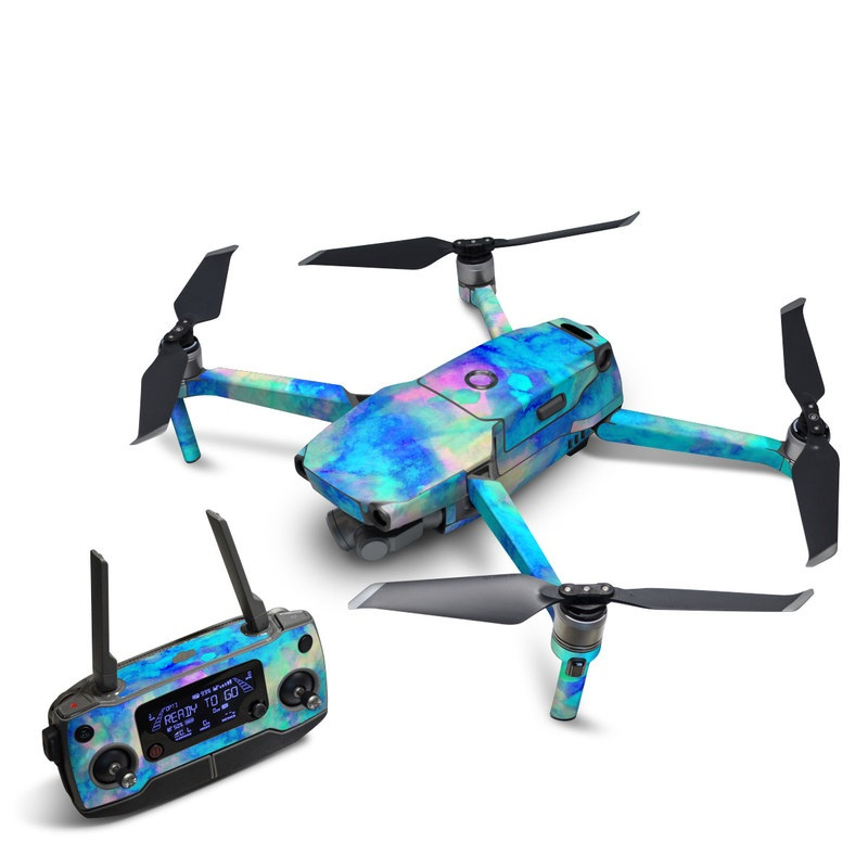 DJI Mavic 2 Skin design of Blue, Turquoise, Aqua, Pattern, Dye, Design, Sky, Electric blue, Art, Watercolor paint with blue, purple colors