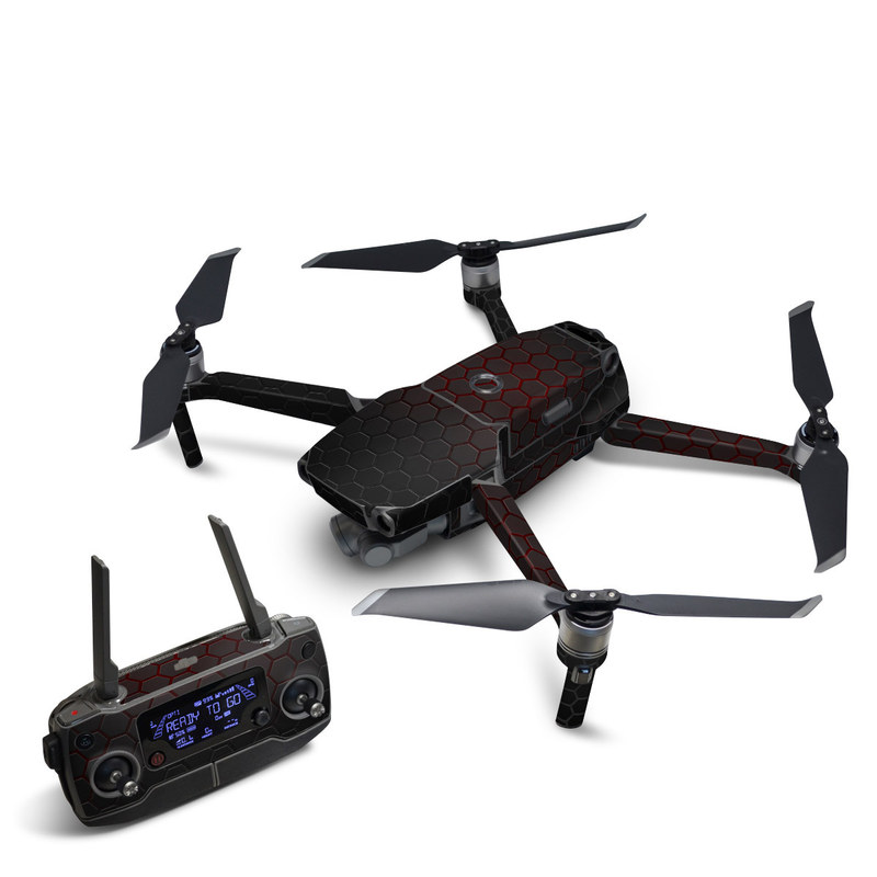 DJI Mavic 2 Skin design of Black, Pattern, Metal, Design, Mesh, Carbon, Space, Wallpaper with black, red colors