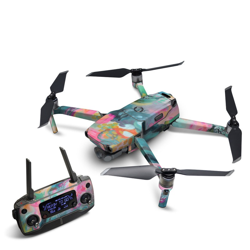 DJI Mavic 2 Skin design of Painting, Acrylic paint, Modern art, Art, Pink, Visual arts, Watercolor paint, Pattern, Illustration, Paint with blue, pink, orange, yellow, green, purple colors