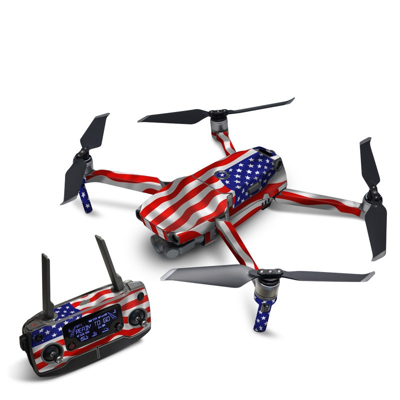DJI Mavic 2 Skin design of Flag of the united states, Flag, Flag Day (USA), Veterans day, Independence day, Memorial day, Holiday with gray, red, blue, black, white colors