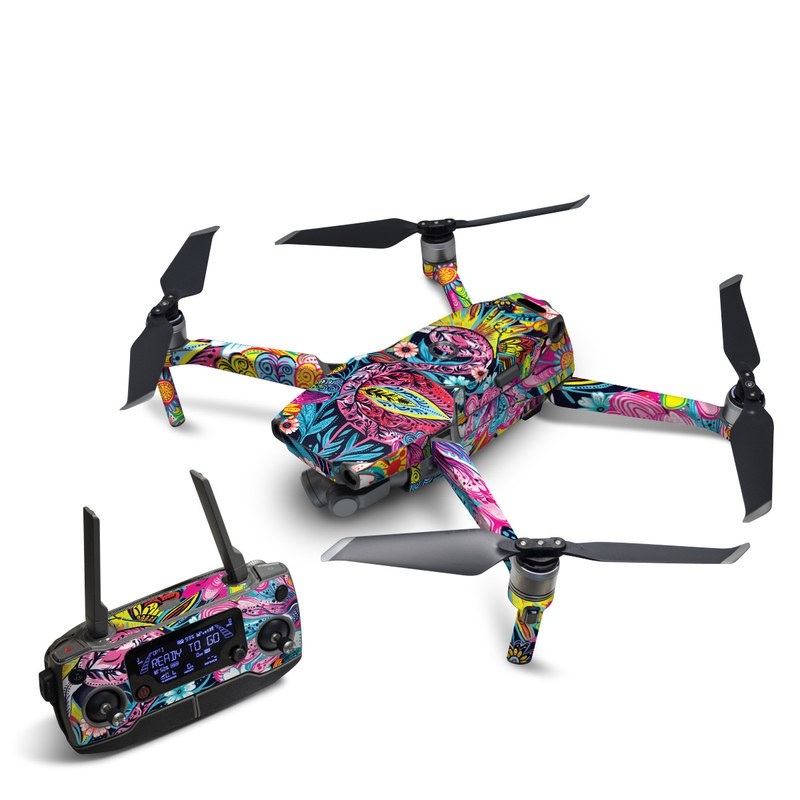 DJI Mavic 2 Skin design of Psychedelic art, Pattern, Visual arts, Art, Design, Textile, Illustration, Plant, Graphic design, Drawing with pink, yellow, black, blue, white colors