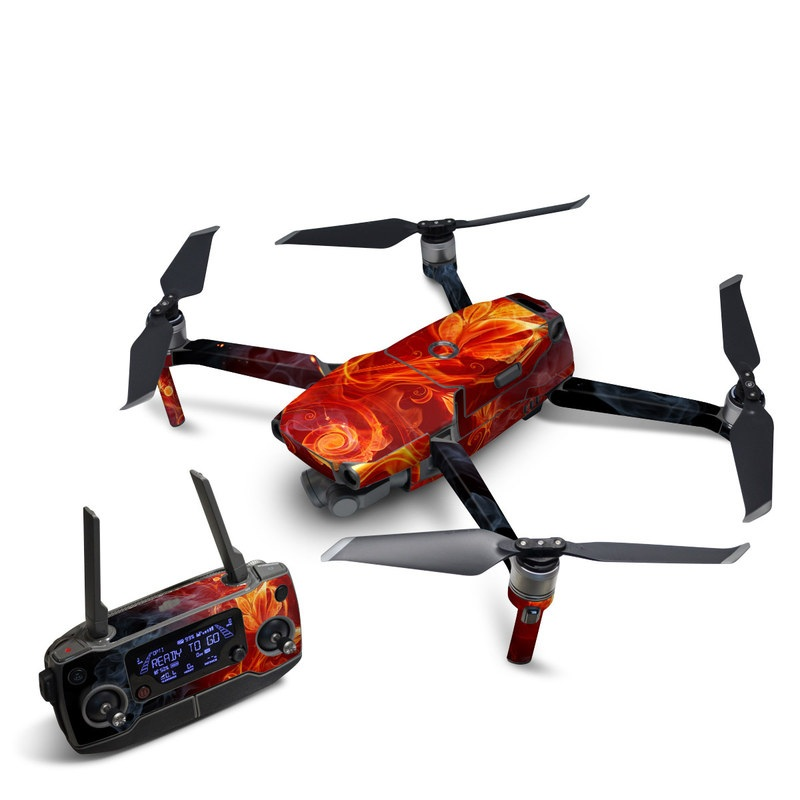 DJI Mavic 2 Skin design of Flame, Fire, Heat, Red, Orange, Fractal art, Graphic design, Geological phenomenon, Design, Organism with black, red, orange colors