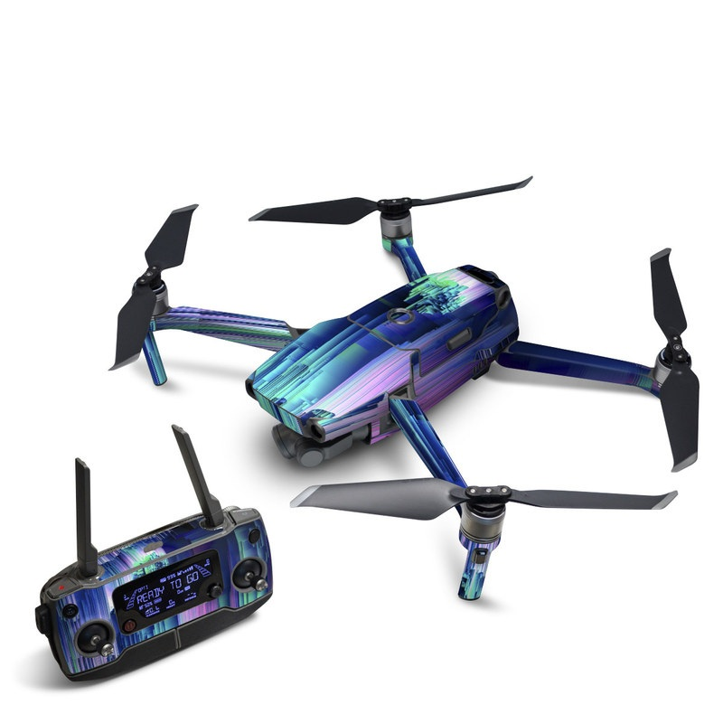 DJI Mavic 2 Skin design of Blue, Green, Light, Colorfulness with blue, purple, pink, white colors