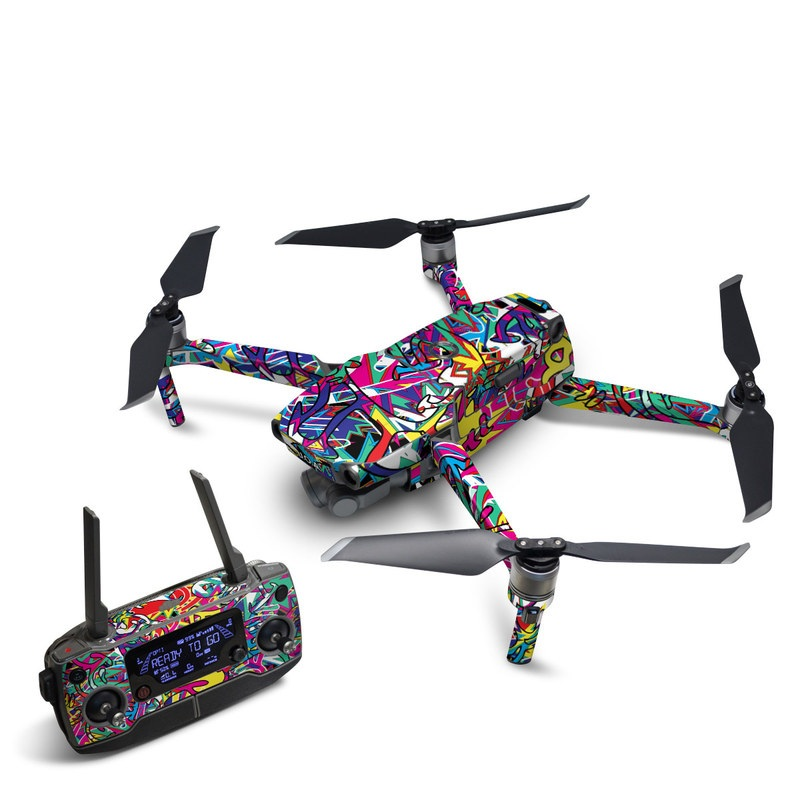 DJI Mavic 2 Skin design of Psychedelic art, Art, Visual arts, Pattern, Design, Graffiti, Graphic design, Modern art, Illustration with black, red, blue, purple, gray colors