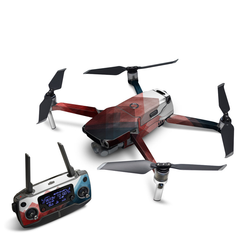 DJI Mavic 2 Skin design of Blue, Red, Sky, Pink, Line, Architecture, Font, Graphic design, Colorfulness, Illustration with red, pink, blue colors