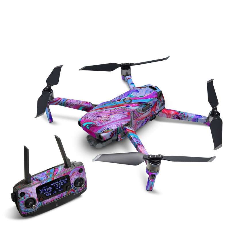 DJI Mavic 2 Skin design of Pink, Purple, Pattern, Design, Visual arts, Art, Psychedelic art, Magenta, Acrylic paint, Colorfulness with pink, purple, blue, green colors