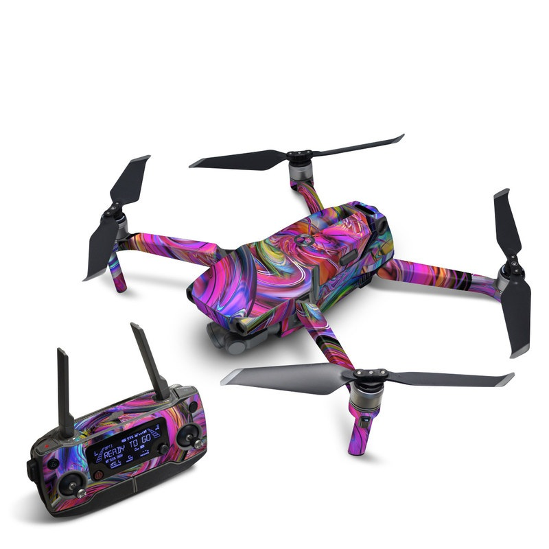 DJI Mavic 2 Skin design of Pattern, Psychedelic art, Purple, Art, Fractal art, Design, Graphic design, Colorfulness, Textile, Visual arts with purple, black, red, gray, blue, green colors