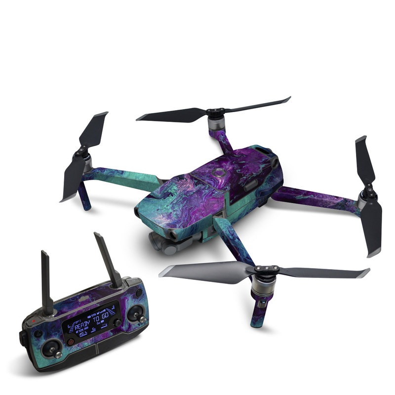 DJI Mavic 2 Skin design of Blue, Purple, Violet, Water, Turquoise, Aqua, Pink, Magenta, Teal, Electric blue with blue, purple, black colors