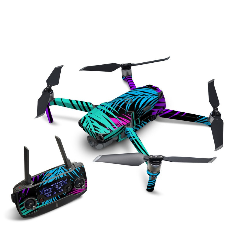 DJI Mavic 2 Skin design of Pattern, Purple, Violet, Magenta, Line, Design, Plant, Graphic design, Graphics with black, purple, blue, green colors