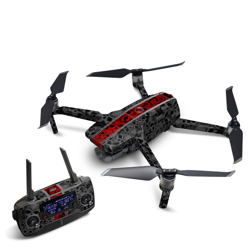 DJI Mavic 2 Skin design of Font, Text, Pattern, Design, Graphic design, Black-and-white, Monochrome, Graphics, Illustration, Art with black, red, gray colors