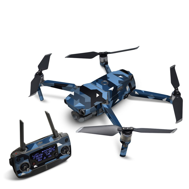 DJI Mavic 2 Skin design of Blue, Pattern, Design, Font, Line, Camouflage, Illustration, Triangle with blue, black, white, gray colors