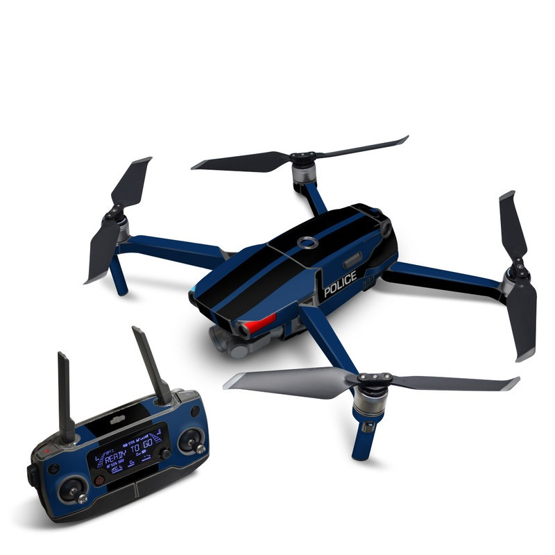 DJI Mavic 2 Skin design with black, white, blue, red colors