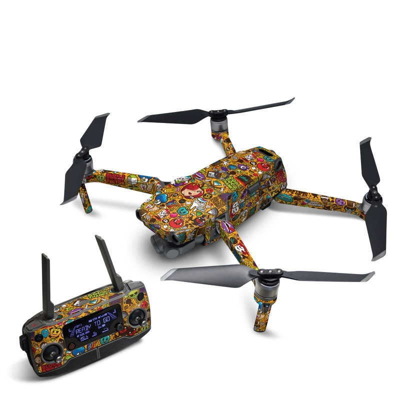 DJI Mavic 2 Skin design of Pattern, Psychedelic art, Visual arts, Art, Design, Illustration, Graphic design, Doodle with black, green, red, gray, orange, blue colors