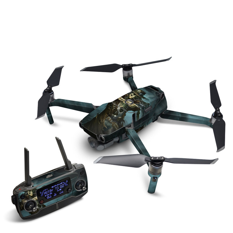 DJI Mavic 2 Skin design of Cg artwork, Action-adventure game, Darkness, Illustration, Games, Adventure game, Pc game, Woman warrior, Digital compositing, Fictional character with black, white, blue, gray colors
