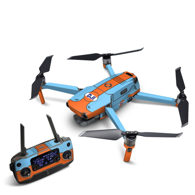 DJI Mavic 2 Skin design of Line with blue, orange, black colors