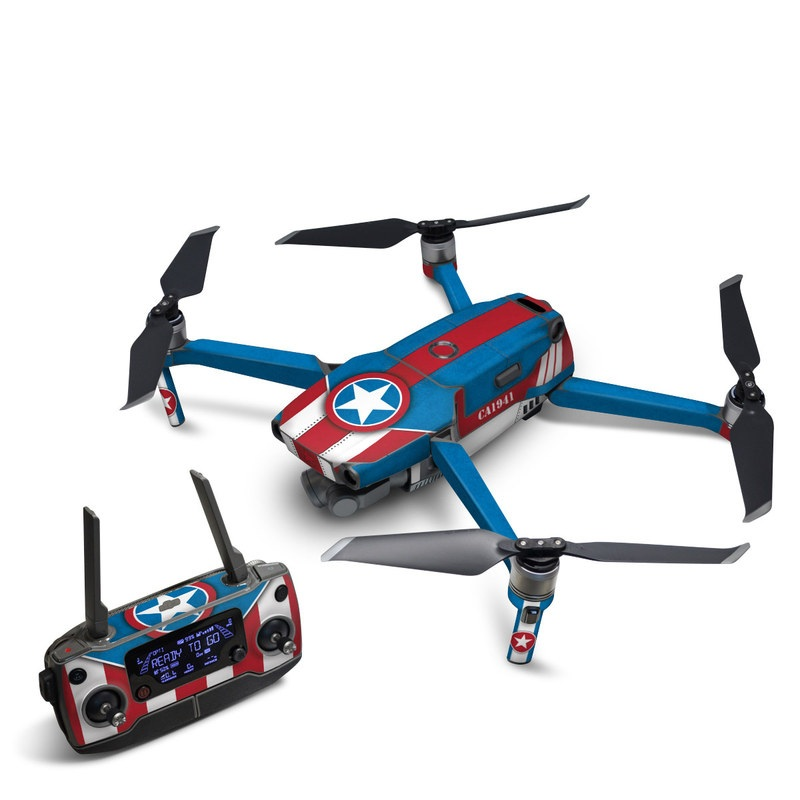 DJI Mavic 2 Skin design with white, blue, red colors