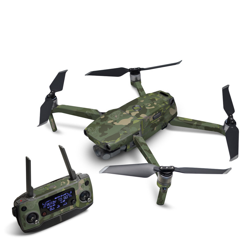 DJI Mavic 2 Skin design of Military camouflage, Pattern, Camouflage, Uniform, Clothing, Green, Design, Leaf, Plant, Illustration with green, brown colors