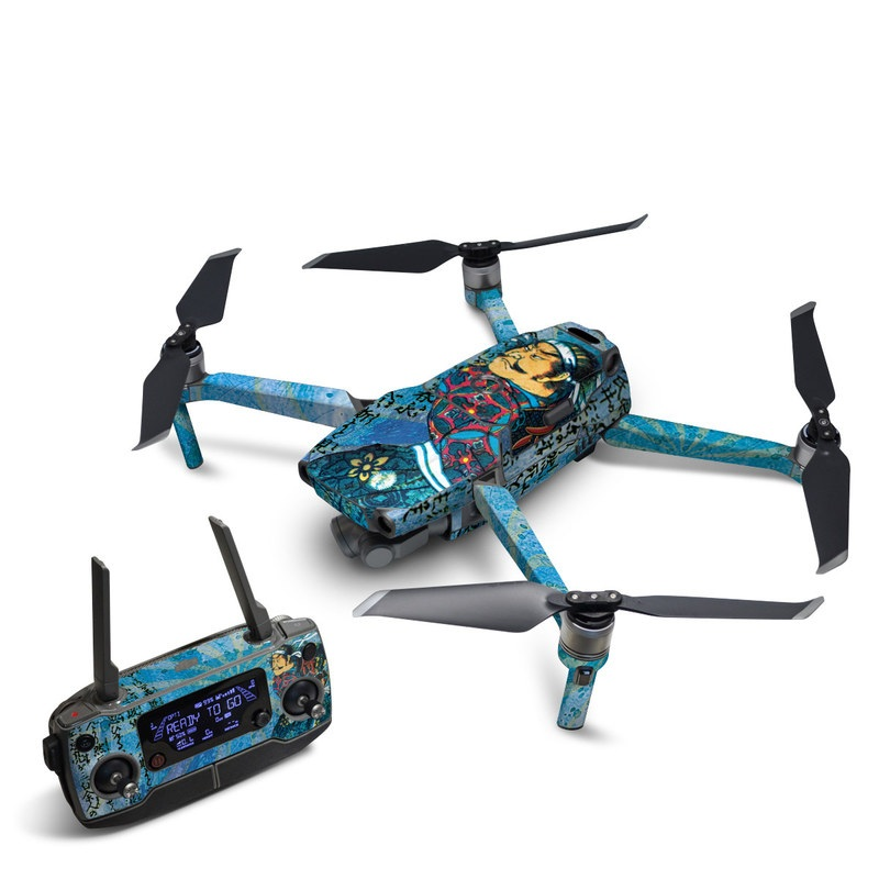 DJI Mavic 2 Skin design of Art, Illustration, Painting with blue, black, gray, green, red colors