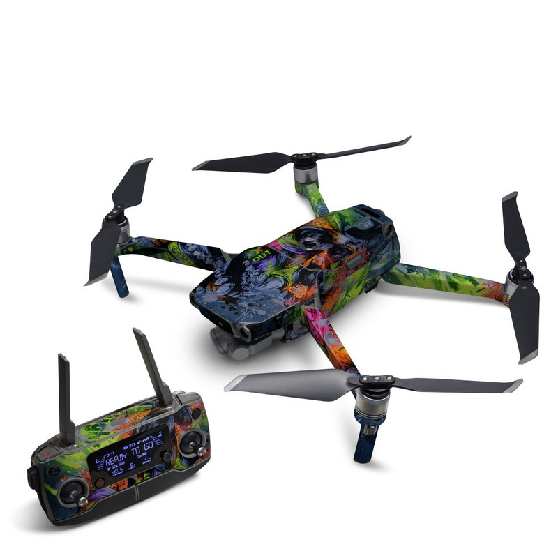 DJI Mavic 2 Skin design of Art, Street art, Painting, Graffiti, Illustration, Graphic design, Modern art, Visual arts, Acrylic paint, Mural with black, red, blue, green, gray colors