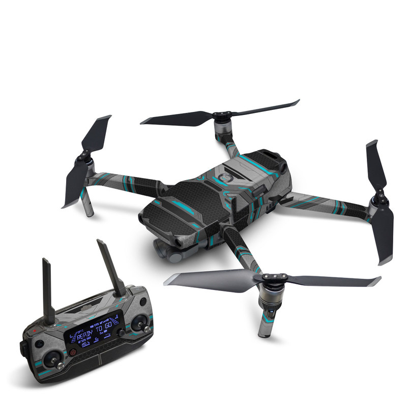 DJI Mavic 2 Skin design of Blue, Turquoise, Pattern, Teal, Symmetry, Design, Line, Automotive design, Font with black, gray, blue colors