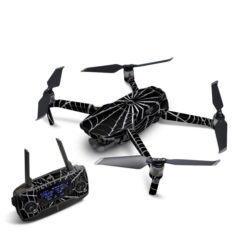DJI Mavic 2 Skin design of Spider web, Black-and-white, Monochrome photography, Black, Monochrome, Pattern, Symmetry, Line, Leaf, Design with black, gray colors