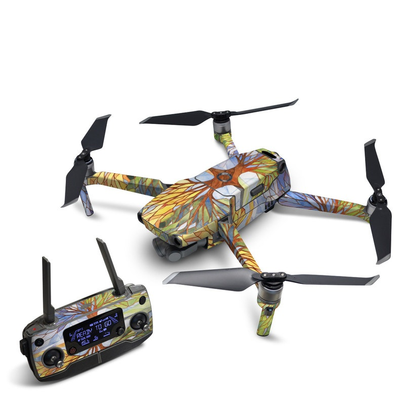 DJI Mavic 2 Skin design of Leaf, Tree, Botany, Plant, Symmetry, Art, Pattern, Painting, Plant stem, Plane with blue, brown, orange, yellow, red, purple colors