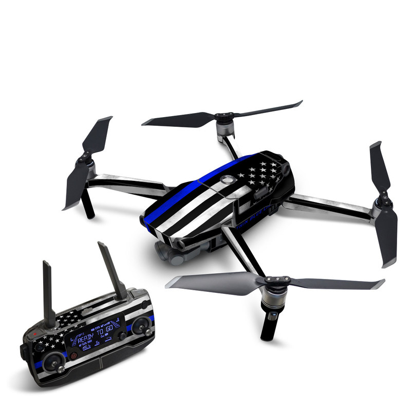 DJI Mavic 2 Skin design of Line, Flag, Text, Flag of the united states, Font, Parallel, Symmetry, Black-and-white, Pattern, Graphics with black, white, gray, blue colors