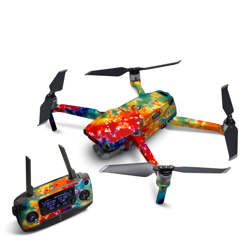 DJI Mavic 2 Skin design of Orange, Watercolor paint, Sky, Dye, Acrylic paint, Colorfulness, Geological phenomenon, Art, Painting, Organism with red, orange, blue, green, yellow, purple colors