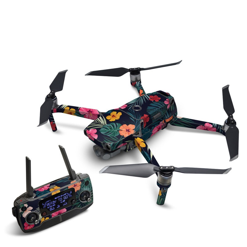 DJI Mavic 2 Skin design of Hawaiian hibiscus, Flower, Pattern, Plant, Leaf, Floral design, Botany, Design, Hibiscus, Petal with black, green, red, pink, orange, yellow, white colors