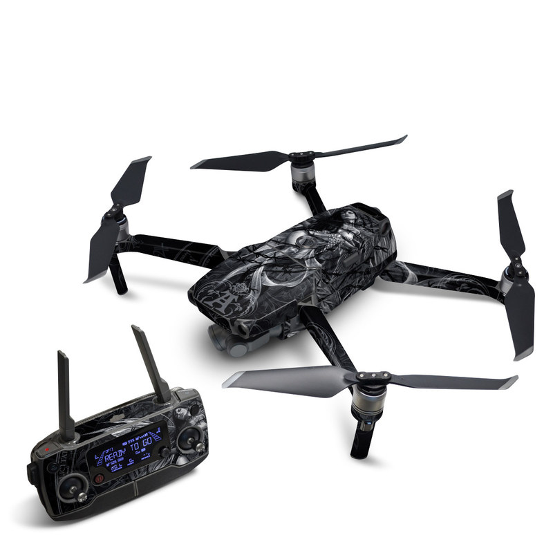 DJI Mavic 2 Skin design of Illustration, Graphic design, Darkness, Fictional character, Black-and-white, Pattern, Graphics, Mythical creature, Circle, Wing with black, white colors