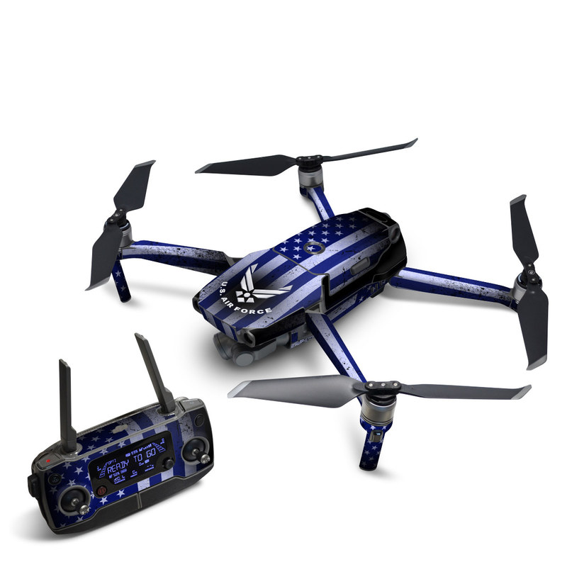 DJI Mavic 2 Skin design of Text, Font, Design, Pattern, Flag, Graphic design, Logo, Graphics, Illustration with black, gray, blue, purple colors