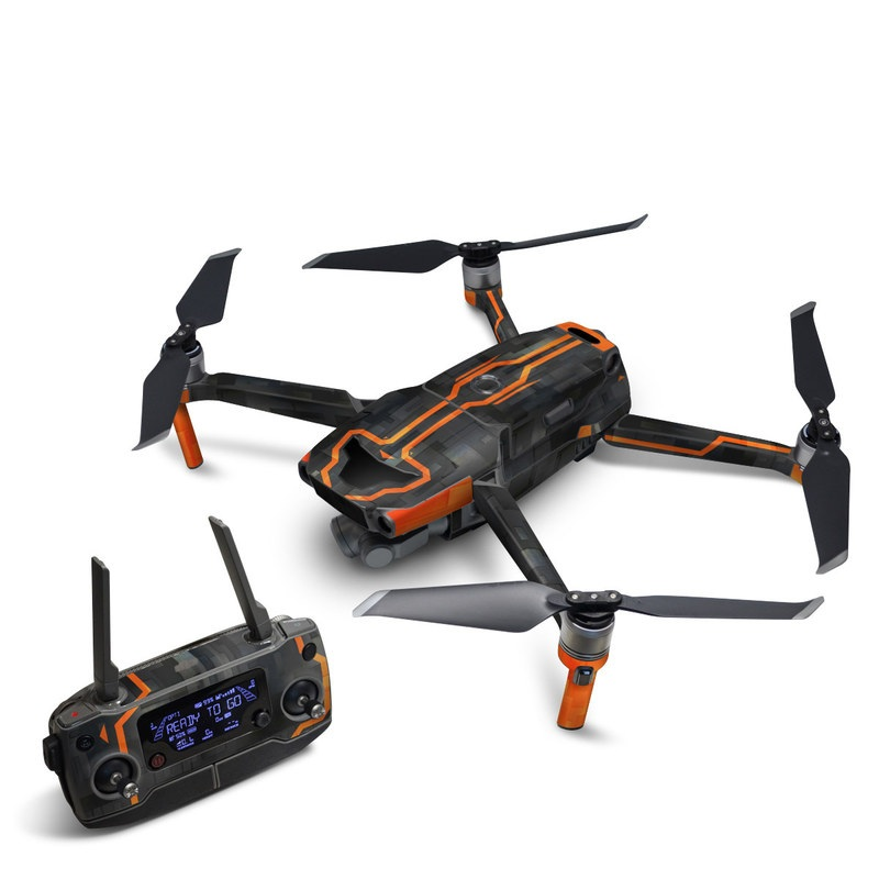 DJI Mavic 2 Skin design with black, gray, orange colors