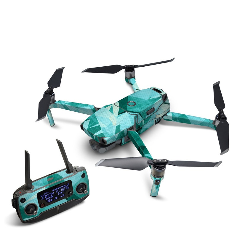 DJI Mavic 2 Skin design of Aqua, Blue, Pattern, Turquoise, Illustration, Teal, Design, Line, Graphic design with blue colors
