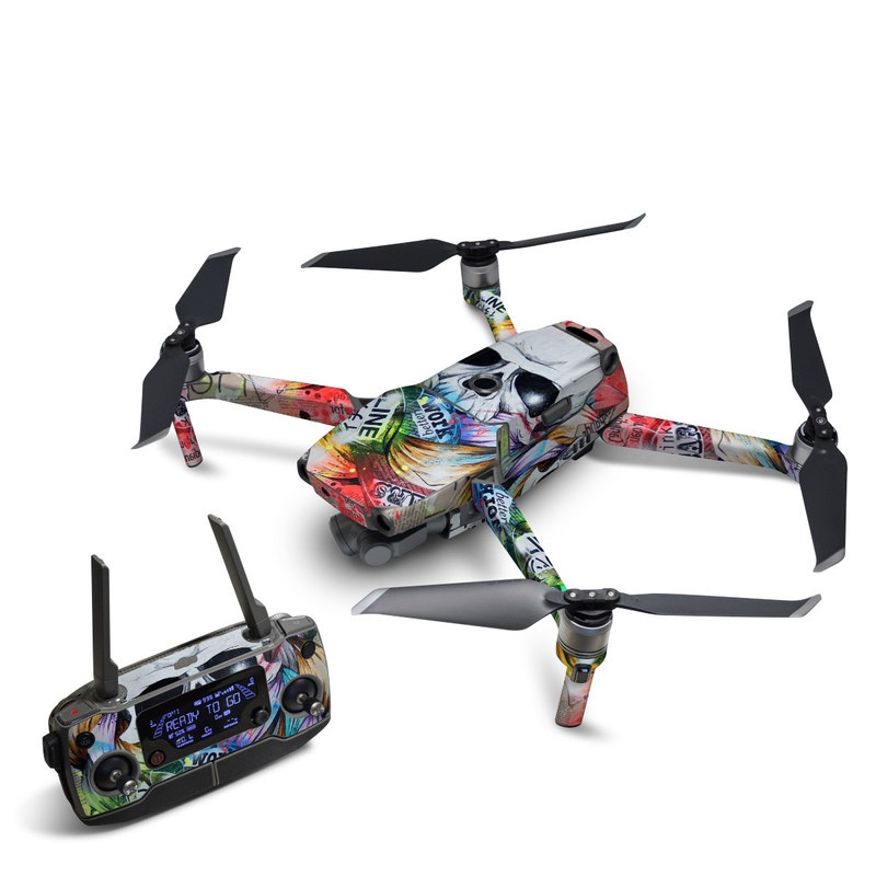 DJI Mavic 2 Skin design of Street art, Text, Graphic design, Font, Illustration, Art, Graffiti, Skull, Poster, Advertising with gray, black, red, green, blue colors
