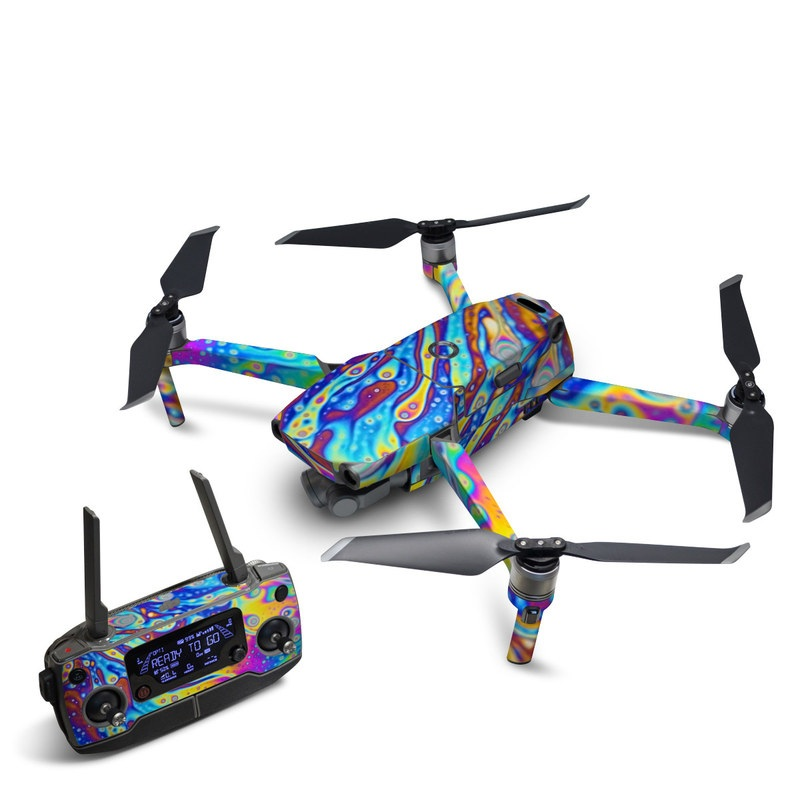 DJI Mavic 2 Skin design of Psychedelic art, Blue, Pattern, Art, Visual arts, Water, Organism, Colorfulness, Design, Textile with gray, blue, orange, purple, green colors