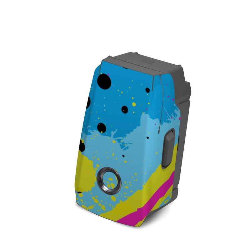 DJI Mavic 2 Battery Skin design of Blue, Colorfulness, Graphic design, Pattern, Water, Line, Design, Graphics, Illustration, Visual arts with blue, black, yellow, pink colors
