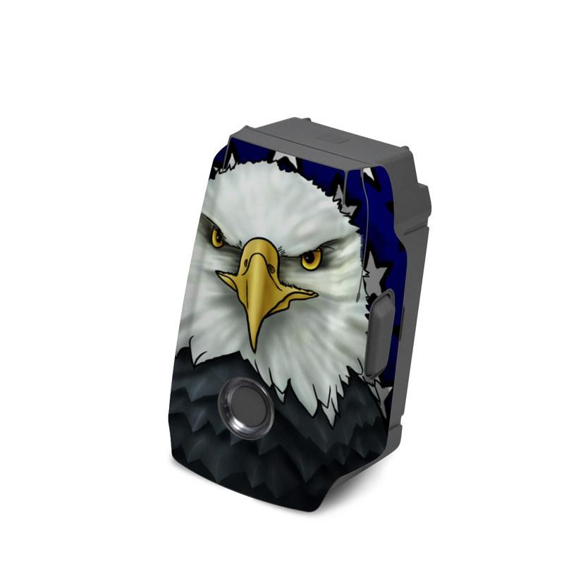 DJI Mavic 2 Battery Skin design of Bald eagle, Eagle, Bird, Bird of prey, Accipitridae, Beak, Accipitriformes, Sea eagle, Flag with white, gray, blue, yellow, red colors