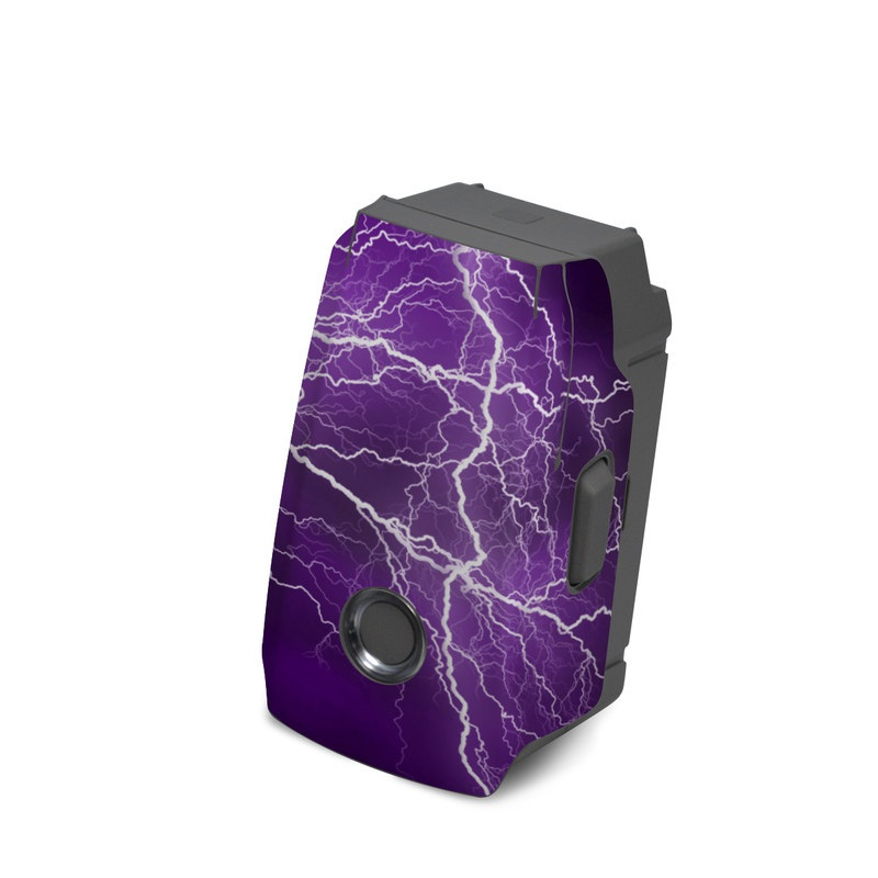 DJI Mavic 2 Battery Skin design of Thunder, Lightning, Thunderstorm, Sky, Nature, Purple, Violet, Atmosphere, Storm, Electric blue with purple, black, white colors