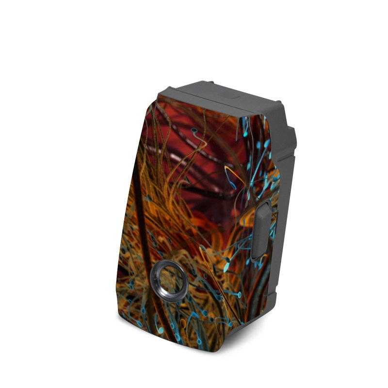 DJI Mavic 2 Battery Skin design of Orange, Tree, Electric blue, Organism, Fractal art, Plant, Art, Graphics, Space, Psychedelic art with orange, blue, red, yellow, purple colors